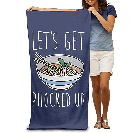 xcvgcxcvasda Funny Bath Towel Lets Get Phocked Up Noodles ...
