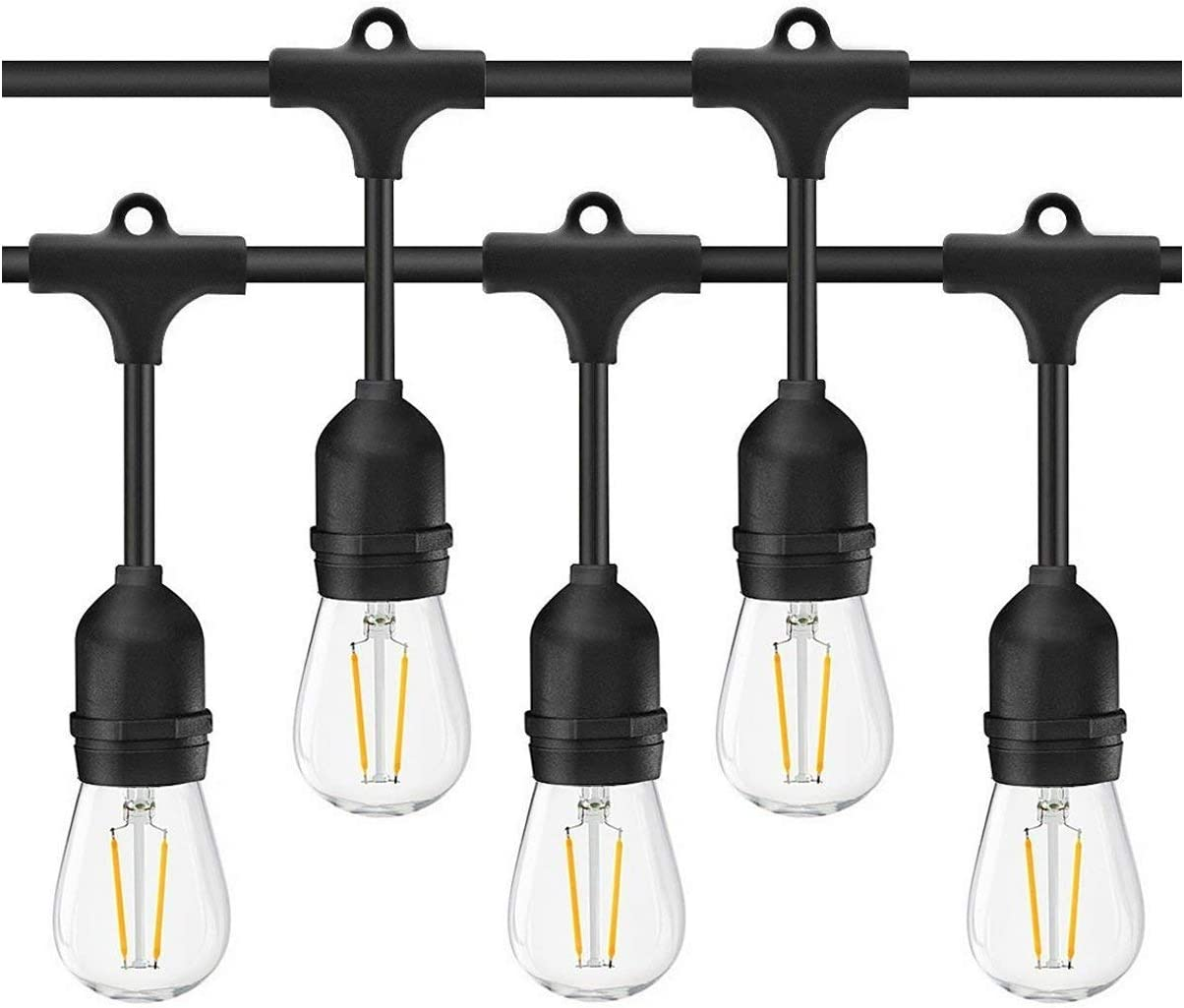 BRTLX Commercial Grade Outdoor Weatherproof S14 LED String Lights 48Ft with 15 Dropped Sockets 2W 15Pcs S14 LED Edison Filament Bulb Included for Patio Courtyard Porch Wedding