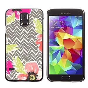 LECELL--Funda protectora / Cubierta / Piel For Samsung Galaxy S5 SM-G900 -- Poppy Floral Beige Art Flower --