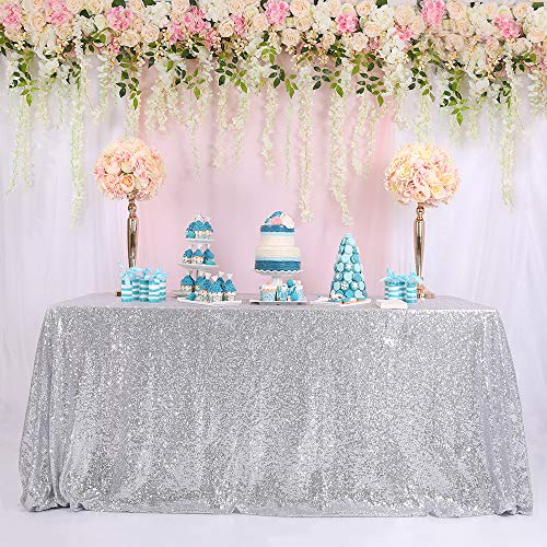 TRLYC 60 x 120-Inch Rectangular Sequin Tablecloth Silver
