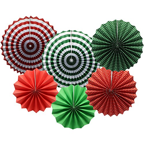 Party Hanging Paper Fans Set, Round Pattern Paper Garlands Decoration for Party Birthday Christmas Events Accessories, Set of 6(Green, Red and White)