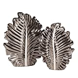 Howard Elliott 34105 Nickel Plated Leaf Vase Set, 2-pieces