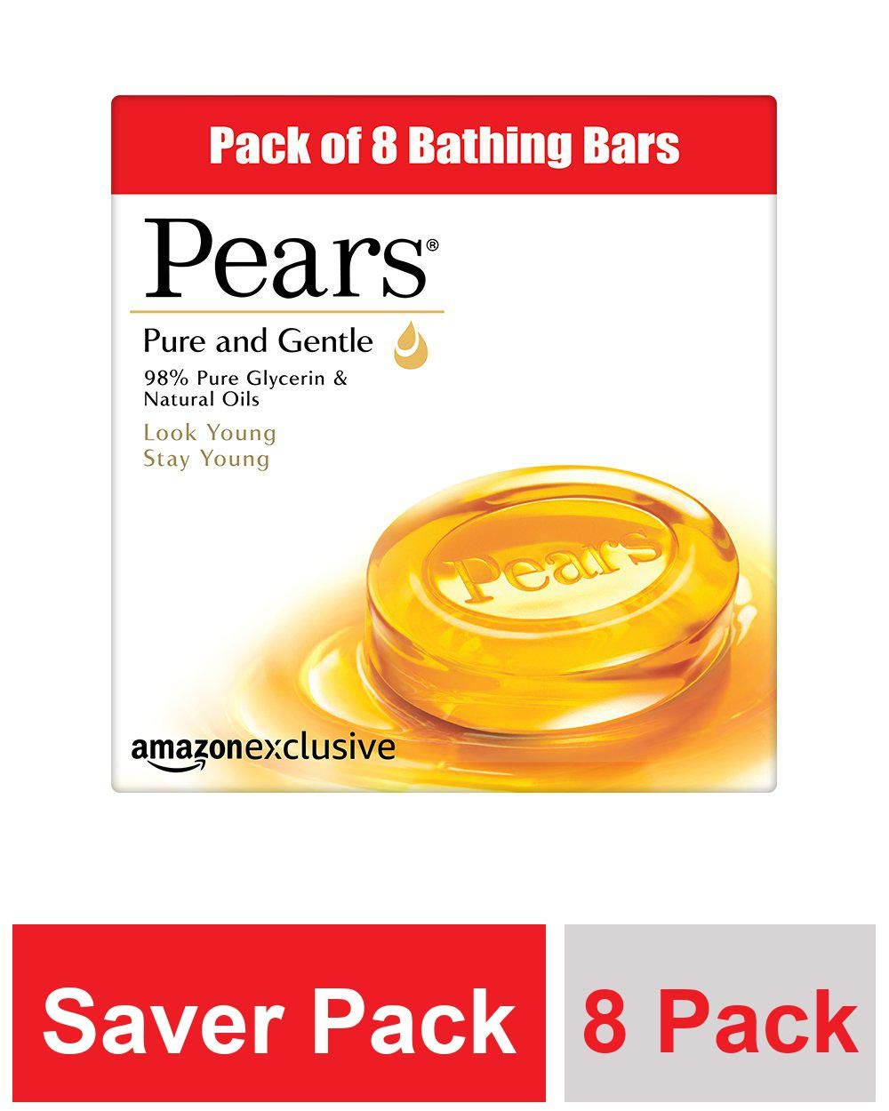 Pears Pure and Gentle Bathing Bar, 125 g (Pack of 8) at Rs.345