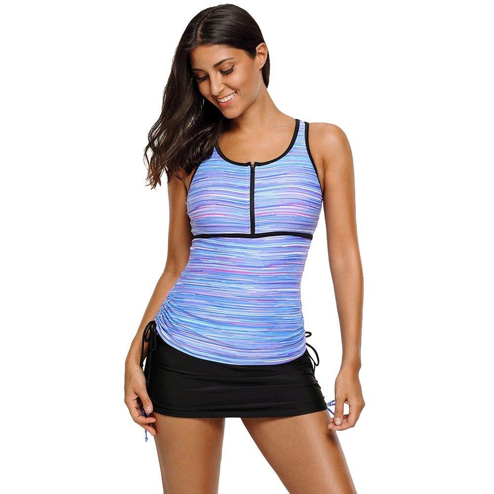 女性の 大きなサイズ ビキニ ラウンドネック ノースリーブ ローウエスト 保守的な 水着 分割 水着 (Color : Purple, Size : L) B07F59KJSF Large|Purple