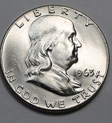 1950 to 1963 Beautiful Brilliant Uncirculated Franklin Half 90% Silver 1-Coin 1/2 BU (1 Franklin)
