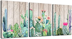 "Wall Art for bedroom Canvas Prints Artwork bathroom Wall Decor Green plants Succulent cactus flower Wood grain watercolor painting 16"" x 24"" 3 Pieces modern Framed Office Home Decorations living room"