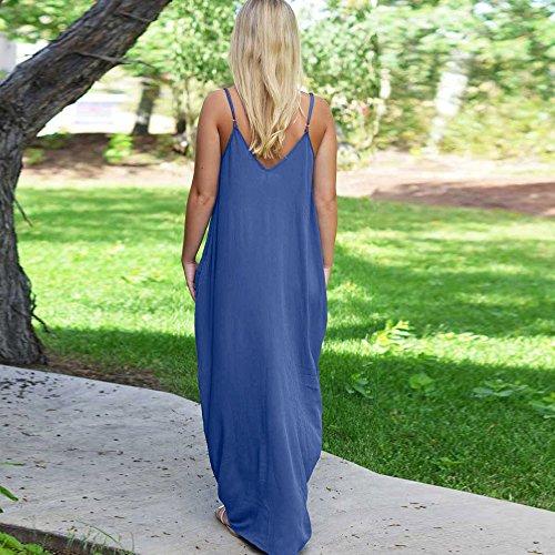 Col Bretelle t Robe Longue Casual Femme Vtements Poches Fte Bleu Femme Hippies Robe Bohme Sunenjoy Avec Plage Robe Cocktail Robe Lache V Robe Mode Maxi 5qZwF4