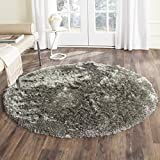Safavieh Paris Shag Collection SG511-7575 Silver Polyester Round Area Rug (7' Diameter)