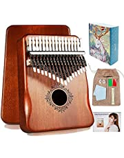 $21 » Kalimba 17 Keys Thumb Piano with Study Instruction and Tune Hammer,Portable Mahogany Wood Finger Piano, Gift for Kids Adult Beginners Professional.