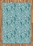 Paisley Area Rug by Lunarable, Islamic Arabian Inspired Pattern with Rounded Modern Eastern Ornaments Design, Flat Woven Accent Rug for Living Room Bedroom Dining Room, 5.2 x 7.5 FT, White and Blue