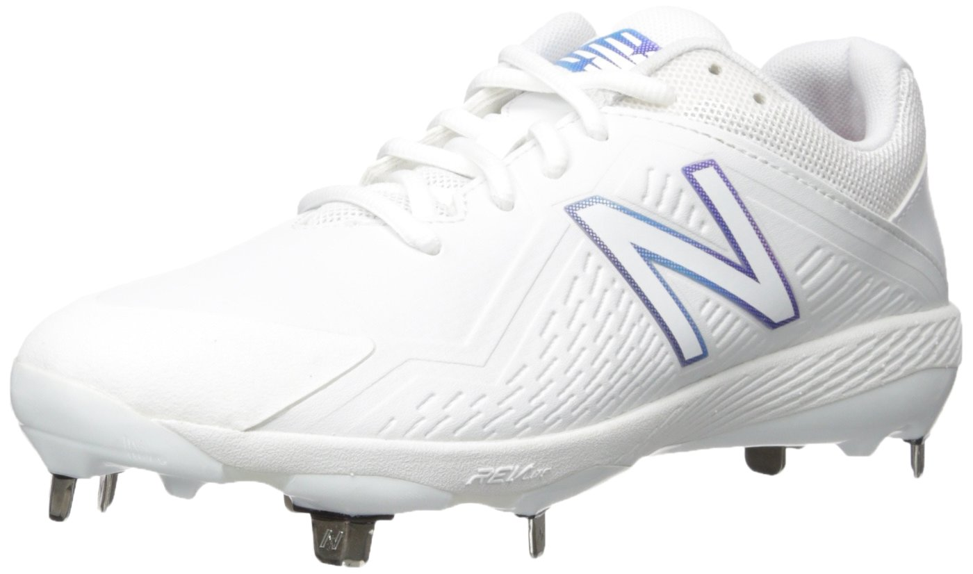 New Balance Women's FUSEV1 Metal Fast Pitch Softball Baseball Shoe, White, 6 B US by New Balance
