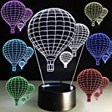 3D Night Light Led 7 Colors Changing Optical Illusion Desk Lamp Home Decor Hot air Balloons Kids Nightlight