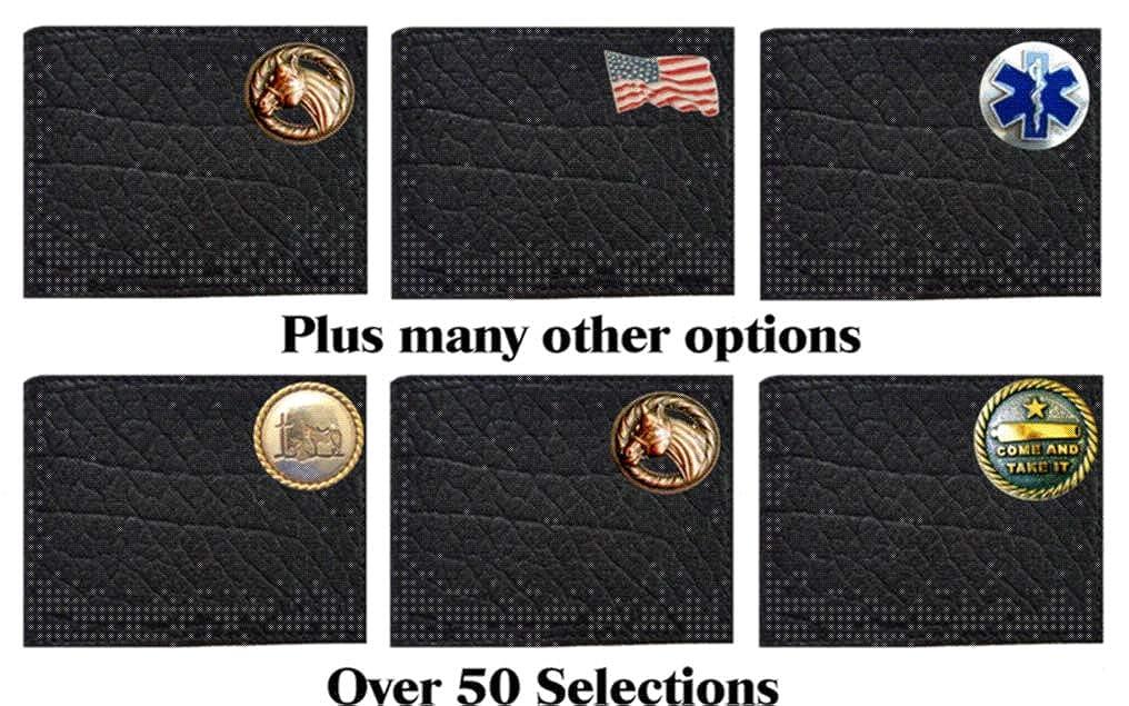Custom Black Large Texas Mason Concho on a Rugged American Buffalo Black Leather Flip ID Bi-fold Wallet Proudly made in the USA.