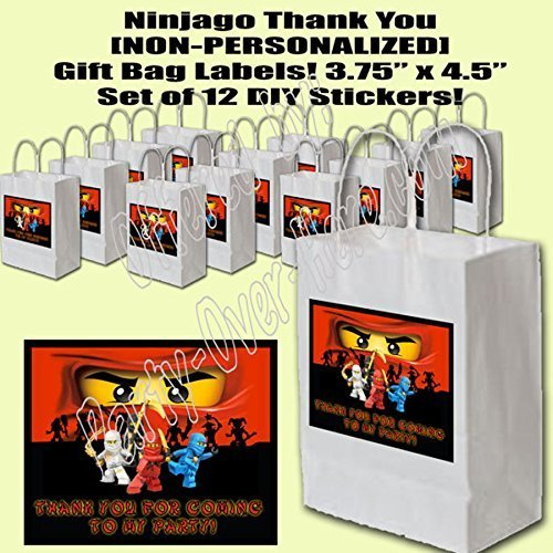 Ninjago Video Game Party Favors Supplies Decorations Gift Bag Label STICKERS ONLY 3.75