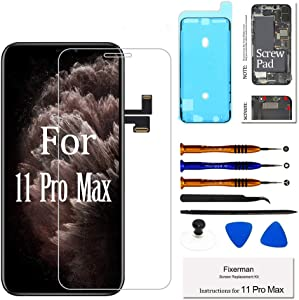 Fixerman for iPhone 11 Pro Max LCD [NOT OLED] Screen Replacement 6.5 inch, 3D Touch Display Digitizer Assembly with Repair Tools, Compatible with Model (A2161, A2220, A2218)