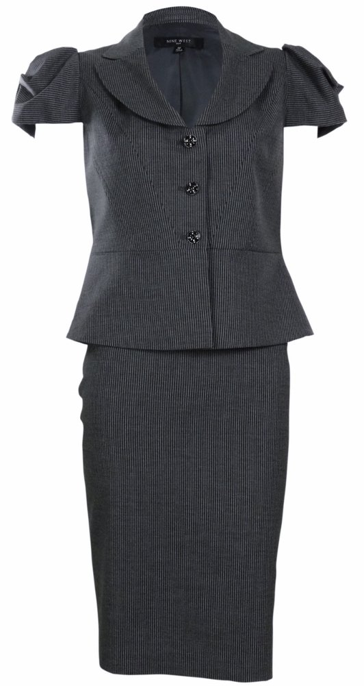 Nine West Women's Urban Summer Pinstripe Skirt Suit (2, Charcoal/White)
