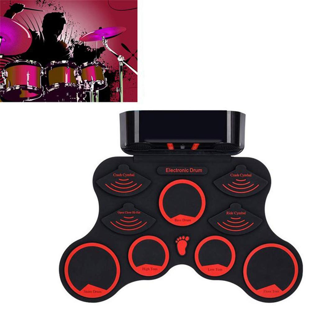 hAohAnwuyg Electric Drum,Musical Instruments,Portable Electronic Digital USB 9 Pads Hand Roll up Drum Set with Drumsticks - Black
