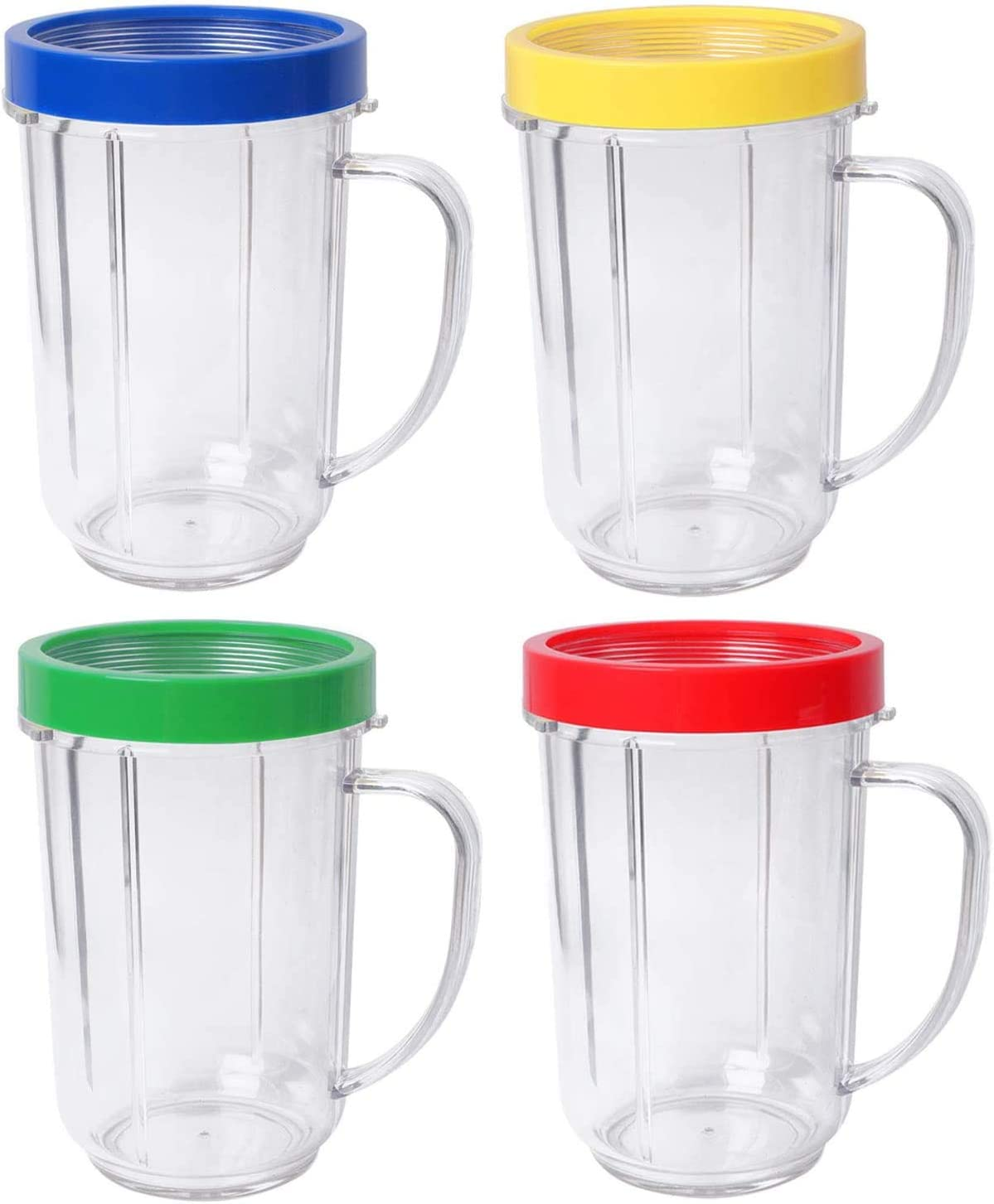 16oz Bullet Cups Compatible with Original Ma-gic Bu-llet Blender Juicer 250W MB-1001 Party Cups Mugs By Wadoy with Colored Lip Rings(Pack of 4)