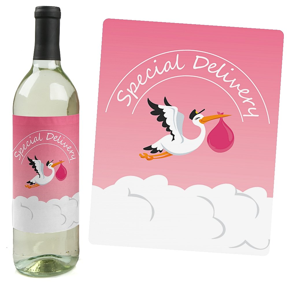 Girl Special Delivery Pink Its A Girl Stork Baby Shower Wine