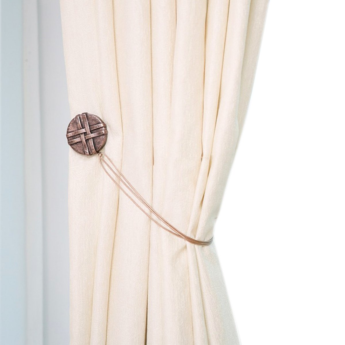 YING CHIC YYC 2 Pcs Resin Round Magnetic Curtain Buckle Tieback Drapey Holder Rope (Copper)