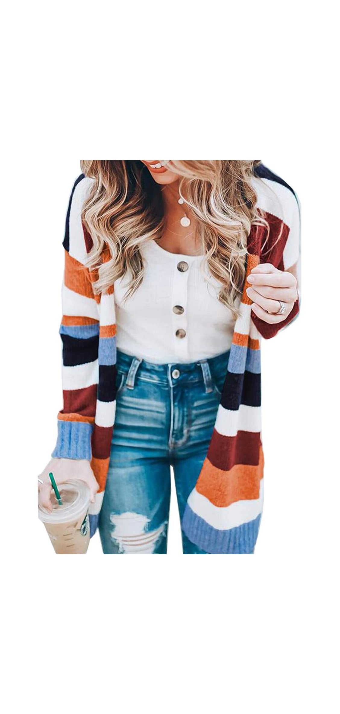 Womens Color Block Striped Cardigan Long Sleeve Open Front Knit