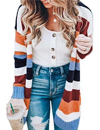 Womens Long Sleeve Open Knit Long Cardigan Oversized Contrast Color Stripe  Sweater Midi Cardigan Coat Pocket 122805f0d