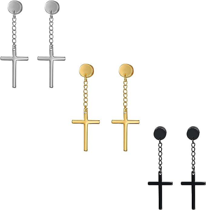 Kreuz Ohrschmuck Piercing Ohrringe Mit Kreuz Anhänger Kette Ohrstecker Cupimatch Mode Schmuck Für Damen Herren Silber Gold Schwarz Amazon De Schmuck