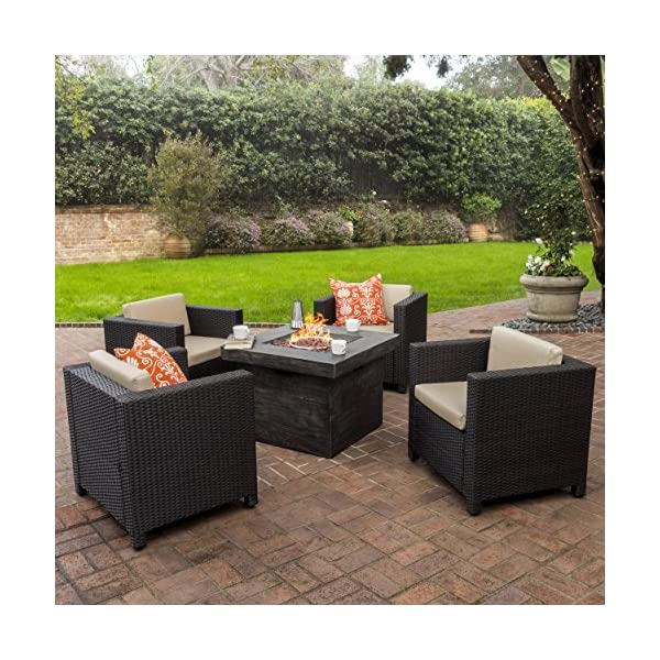 Venice Patio Furniture 5pc Wicker Conversation With Propane Table Fire Pit