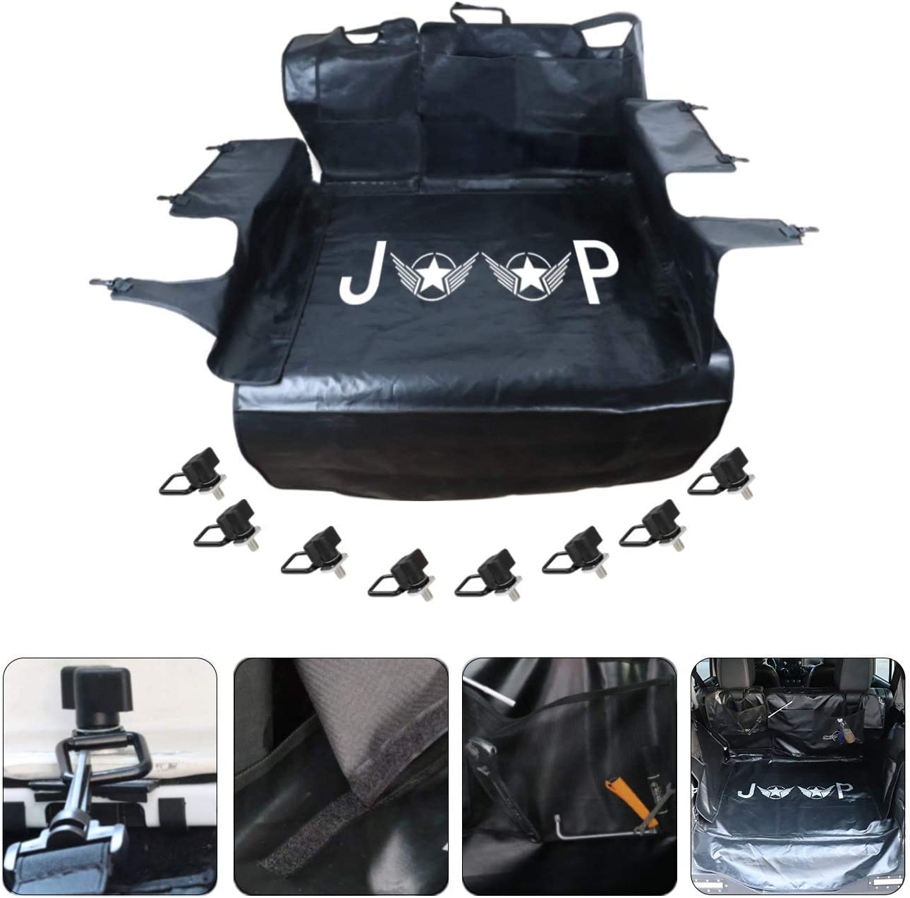 AUFER 1 Year Warranty for 2007-2019 Jeep Wrangler JK JL 4-Door,Rear Beach Seat Covers, Pet Seat Proof Covers Dog Seat Covers with Waterproof Nonslip Multipurpose Heavy Duty Oxford