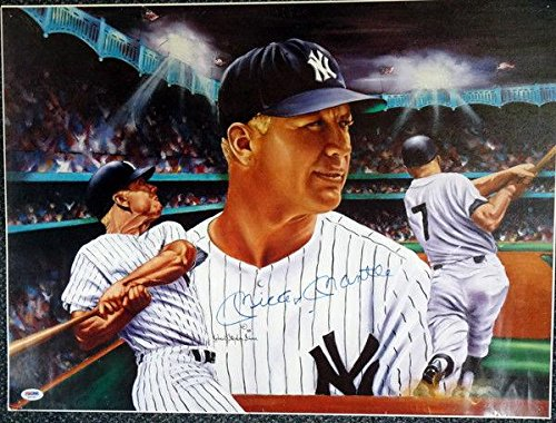 Mickey Mantle Autographed Signed 18x24 Lithograph Photo Yankees #AA01903 PSA/DNA Certified Autographed MLB Art