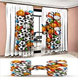 Davishouse Letter H Window Curtain Drape Letter H Stacked from Gaming Balls Alphabet of Sports Theme Competition Activity Decorative Curtains For Living Room Multicolor