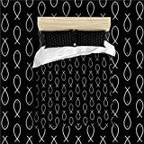CUTE Fish Kids Bed Printed Bedding Coverlet Bedding Set Black (Twin)