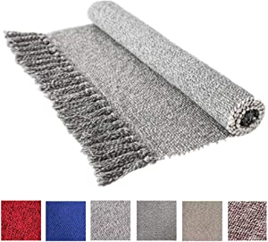 Cotton Reversible Laundry Room Rag Rug - Hand Woven Solid Color Chindi Area Rug Entryway for Kitchen Bathroom Bedroom Dorm (2' x 4.3', Gray)