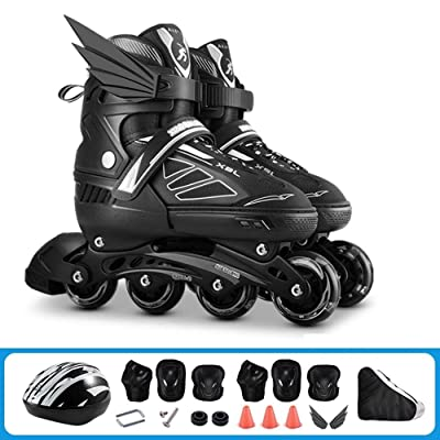 Qoitkgl Black Inline Roller Skates Children's Full Set Roller Skate Boys and Girls Beginners Adjustable Size Professional Adult Skates : Sports & Outdoors