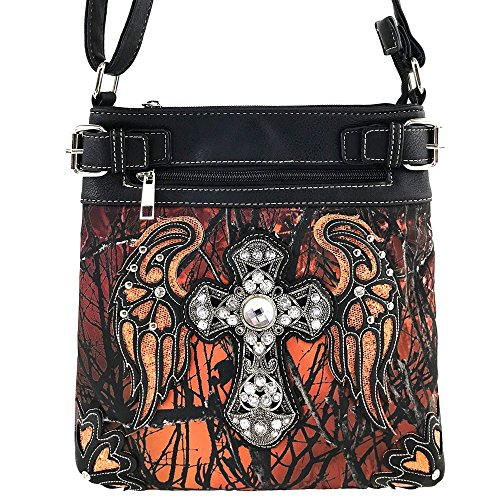 Justin West Angel Wing Cross Rhinestone Studded Camouflage Conceal Carry Cross Body Messenger Bag Purse Wallet (Orange Messenger (Justin Rodeo Wallet)