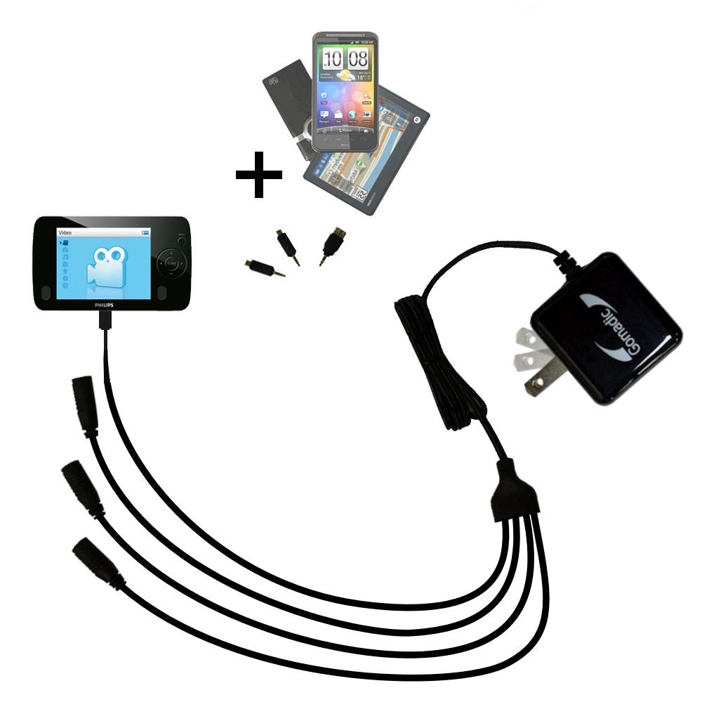Quad 4-port wall charger with included tip for the Philips GoGear SA3125/37 a compact design with flip out prongs - Uses TipExchange Technology to charge up to four devices simultaneously
