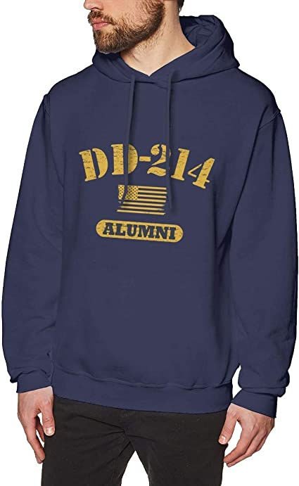 Imagen deDFGDG Men's Hooded Sweatshirt DD 214 Alumni Fashion Hoodie Pullover Black Navy
