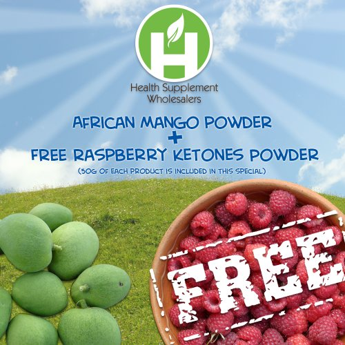 Poudre de mangue africaine (10:1 Concentration) 50 Grams + FREE 50 grammes Poudre de Framboise cétones