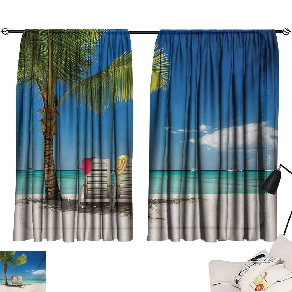 Davishouse Seaside Insulated Sunshade Curtain Relaxing Scene on Remote Beach with Palm Tree Chairs and Boats Panoramic Picture Noise Reducing