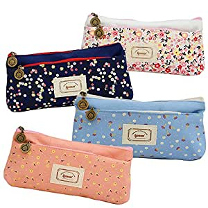 Set of 4, Ipow Flower Floral Canvas Cosmetic Pen Pencil Stationery Pouch Bag Case(Pastorabl)