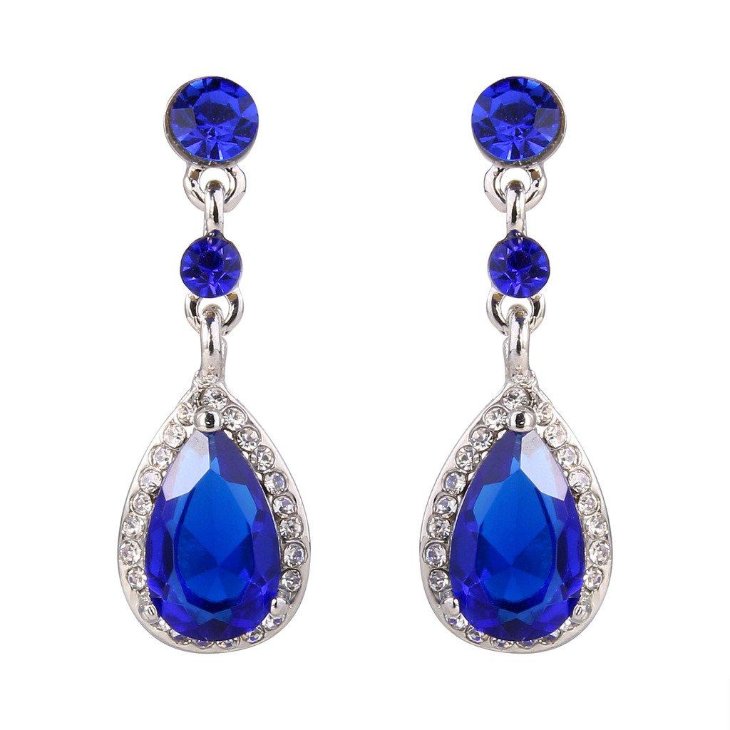 EleQueen Women's Silver-tone Cubic Zirconia Crystal Teardrop Bridal Dangle Drop Earrings 16000331ca