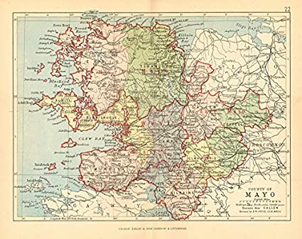 Map Of Ireland Mayo.Amazon Com County Mayo Antique County Map Connaught Ireland