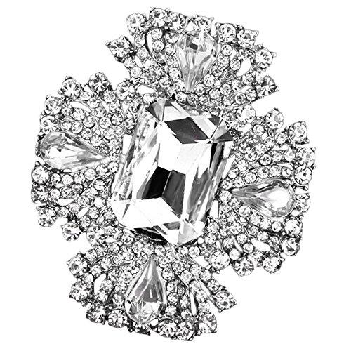 Sanwood Luxury Leaves Crystal Zircon Wedding Bridal Bouquet Brooch Pin Jewelry - Leaf Brooch Pin Rhinestone