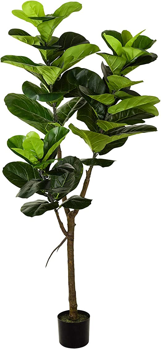 Amazon.com: Woooow 5' Artificial Fiddle Leaf fig Tree in Planter ...