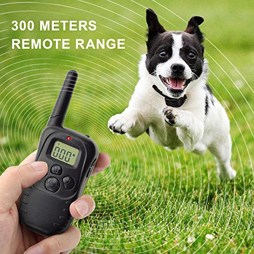 Dog Training Collar, Outdoor Pet trainer, Shock Bark Collar With Remote, Electronic For Large Small dogs- Waterproof, 15Lbs - 100Lbs, 300 Meters Range by Liife (Image #1)