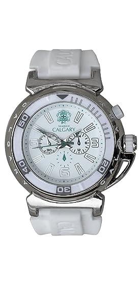 Relojes Calgary Riomaggiore White, Reloj deportivo para mujer, correa blanca de silicona, esfera blanca: Amazon.es: Relojes