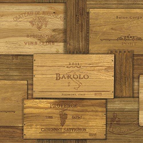 Chesapeake MAN01711 Randolph Wine Crates Wallpaper, Brown by Chesapeake