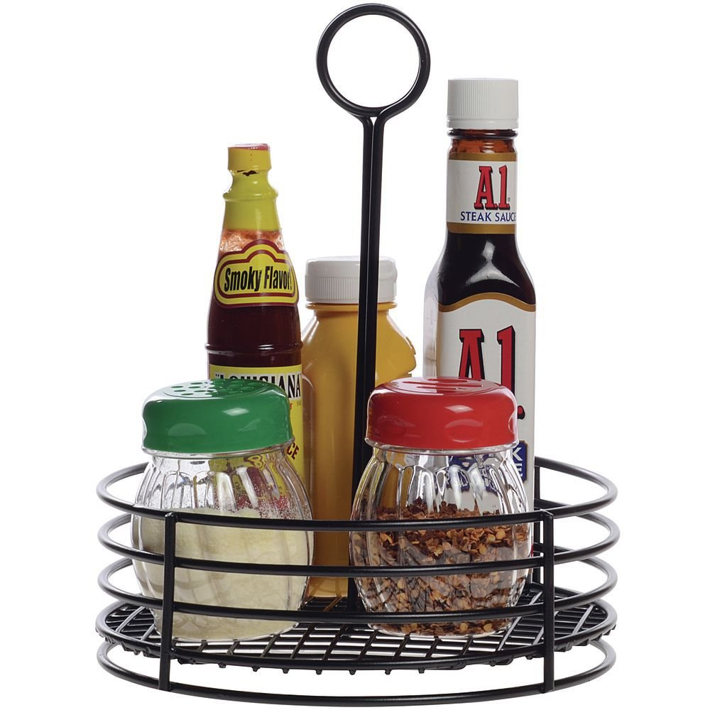 HUBERT Condiment Caddy Round Black Powder-Coated Metal - 7 1/2''Dia x 9 1/2''H