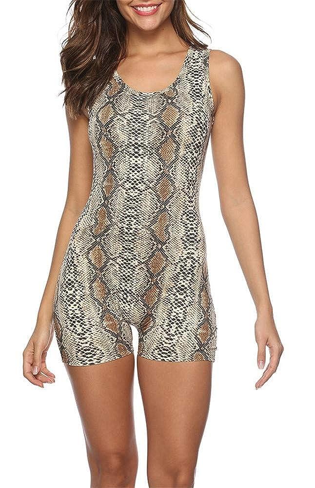 Sorrica Womens Short Catsuit Snake Skin Print Sleeveless Tank Tops Short Jumpsuit Romper