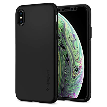 newest collection cdcf8 adb2b Spigen Thin Fit 360 with Exact Slim Full Protection with Tempered Glass  Screen Protector Designed for Apple iPhone Xs Case (2018) / Designed for  Apple ...